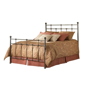 This Full size Classic Metal Bed in Hammered Brown Finish portrays the uniquely historic look of simple beds from an era we thought was gone. The geometry of the bed relies exclusively on right angles to create a handsome bed with pared down fussiness. The clean intersections of the vertical and horizontal elements reveal a decidedly masculine profile. Both the head and footboard provide spindles. The headboard displays 8 solid castings, and the footboard a whopping 13. This element gives the overall construction a hearty and sturdy nature not found in other beds at this price point. The headboard stretches 52-Inch tall and the footboard stands in at 38-Inch. This bed's finish is Hammered Brown.