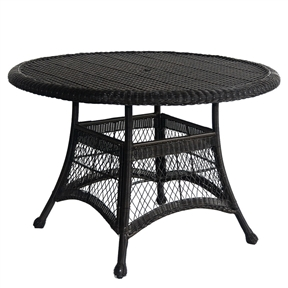 Black Resin Wicker 44.5-inch Outdoor Dining Patio Table with Umbrella Hole, DHREI1898414 :  Bring a little of the indoors comfort of your home outdoors to your patio or deck with this Black Resin Wicker 44.5-inch Outdoor Dining Patio Table with Umbrella Hole. Unlike real wicker which dries out and cracks, resin wicker is flexible and fade-resistant, which means it stays like new season after season. What's more, all-weather wicker doesn't absorb water and also allows for air flow, making it the perfect choice for the poolside! Steel frame for extra durability; Crafted to withstand seasons of inclement weather; Hose off and wipe clean. Folding: No; Stacking: Yes; Umbrella Hole: Yes; Style: Traditional; Hardware Finish: Brushed nickel assembly hardware; Primary Frame Material: Wicker/Rattan; Secondary Frame Material: Metal; Secondary Frame Material Details: Steel. Cooler Insert Included: No; Seating Capacity: 6; Commercial Use: Yes; Eco-Friendly: No.  Country of Manufacture: China; Assembly Required: Yes.