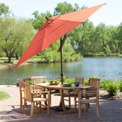 11-Ft Patio Umbrella with Brick Red Canopy and Metal Pole, BRPU6987136 :  This 11-Ft Patio Umbrella with Brick Red Canopy and Metal Pole has your party covered, literally. Its generous girth can bring the shade to a table up to 84 inches wide and keeps it there with a handy tilting action that lets you keep the sun at bay. It boasts a poly shade in your choice of colors, so pick one that best matches your décor and invite over a few friends for some quality patio time. In stock and ready to ship - you'll have it fast! Spun polyester shade in several color options; Crank lift aluminum pole, aluminum ribs; Handy push-button tilt to keep the sun at your back; Perfect for shading tables 60 to 84 inches wide; Offers 95 square feet of shade coverage; Commercial Grade No; Fabric Type Polyester; Lift Crank; Number of Ribs 8; Pole Material Aluminum; Tilt Push Button; Umbrella Shape Round.