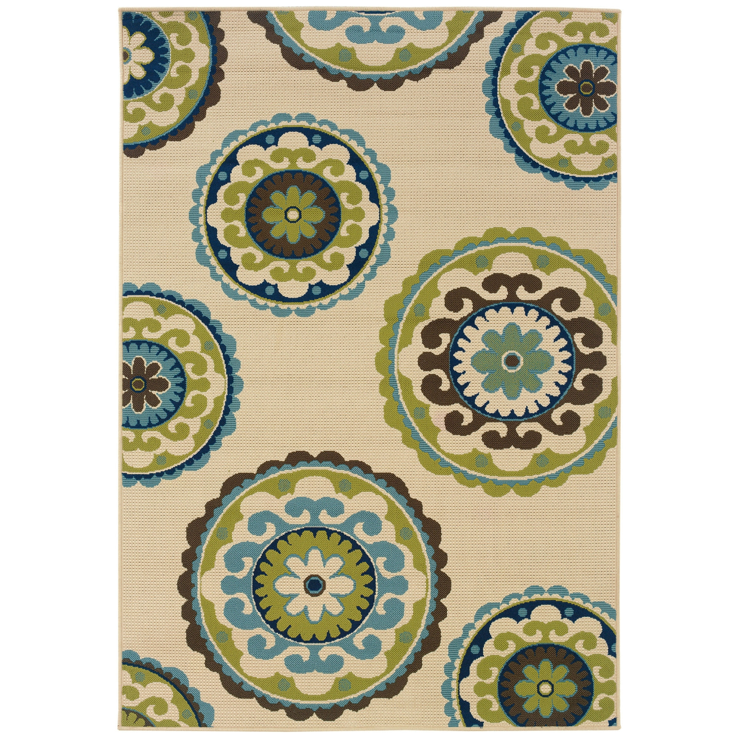 3'7 x 5'6 Outdoor Indoor Area Rug in Ivory Green Blue Brown Circles,  CIG490023 :  This 3'7 x 5'6 Outdoor Indoor Area Rug in Ivory Green Blue Brown Circles would be a great addition to your home. It is made by a woven technique and is made of 100% polypropylene material. Ideal for any modern setting, the Rug has a lively and vibrant floral design spread over it. Being water repellent and mildew resistant, this versatile rug can be used indoors as well as outdoors. So it can placed in your living room, bedroom, kitchen area, on your terrace under the wicker table or simply outside on your patio. Thanks to its 100% polypropylene material, this ivory/green carpet from the Caspian collection is sure to stay in the family for years. A machine construction also adds to the durability of this rug. Plus, it is stain and fade resistant, so the rug looks new for long. Thus it can be said that, this woven rug is extremely luxurious and reliable. Remember to use this whimsical Rug with a backing pad to avoid any accidental slips or falls. Using a rug pad also improves the life of your rug and protects your flooring. Vacuum cleaning this ivory/green rug at regular intervals helps it look new and lush at all times. In case your rug appears heavily soiled, getting it professional cleaned is essential. Available in different shapes and sizes, this beautiful rug can easily meet all your styling requirements. Technique: Machine woven; Primary Pattern: Floral and plants; Oriental; Primary Color: Ivory; White; Material: Synthetic; Country of Manufacture: Egypt.