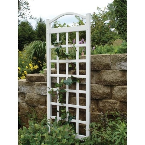 76-inch High Garden Trellis in White Vinyl - Made in USA, DCT515891 :  This 76-inch High Garden Trellis in White Vinyl - Made in USA can be used against a wall or freestanding using the two included 16 inch steel ground anchors. Measuring 76-Inch at its highest point and 28-Inch wide the Cambridge Trellis is strong enough for any vine or climbing plant. Made with the highest quality PVC vinyl, this trellis is completely maintenance free. The high quality PVC vinyl contains the highest concentration of titanium dioxide for the strongest UV sunlight protection. Buy with confidence, all Dura-Trel products are backed with a 20 year warranty guaranteeing your trellis will never delaminate, crack, peel, fade or discolor in any way. Once assembled and installed in your yard, the only maintenance ever needed is a simple spray with a garden hose and wipe clean. Pre-cut and pre-drilled holes with all hardware included; Install against a wall or freestanding included with 16-inch steel ground anchors; 2 by 2-Inch posts.