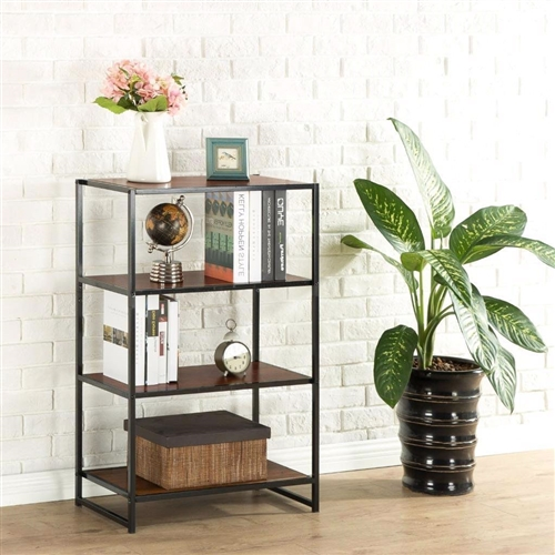 This Contemporary 4-Shelf Metal Bookcase with Rich Brown Wood Grain Shelves is an ideal combination of function and style. The 4-Shelf Bookcase is an economical storage solution for books or decorative items. The sturdy, black square steel tubing and high-density panel with rich brown wood grain finish will add an elegant touch to any decor. Easy to assemble. Worry free limited 1-year warranty.