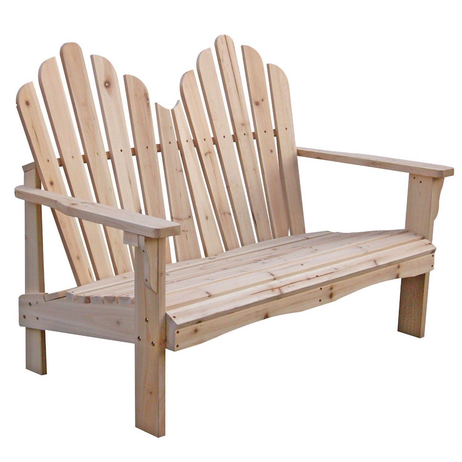 Cedar Wood Outdoor Patio 2-Seat Adirondack Chair Style Loveseat, SWL15970 :  What's best than sharing this Cedar Wood Outdoor Patio 2-Seat Adirondack Chair Style Loveseat with your partner to enjoy the outside scenery. Assembles in approximately 20 minutes. Functional and practical to use indoors or outdoors. Cedar wood also have a beautiful grain and a knotty grade that add warmth and charm to it; The natural unfinished feature allows you to be creative and you can paint or stain it to your style; Rust resistant hardware.