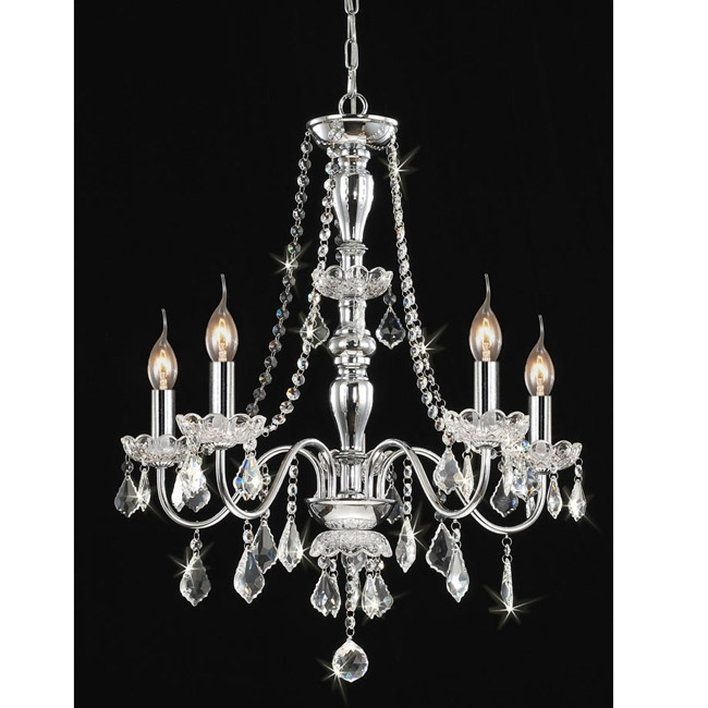 This Chrome 5-light Crystal Chandelier will add elegance to any room in your home or office. Also, features clear crystal shades and offers a chrome finish. This fixture needs to be hard wired. Professional installation is recommended.