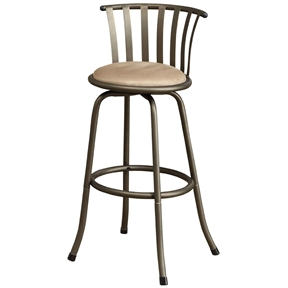 This Set of 2 - Adjustable Height Swivel Microfiber Seat Bar Stools features a selection of two contemporary styled chairs with round upholstered seat cushions in a light color framed in a dark metal finish with bold lines covering the chair supports.