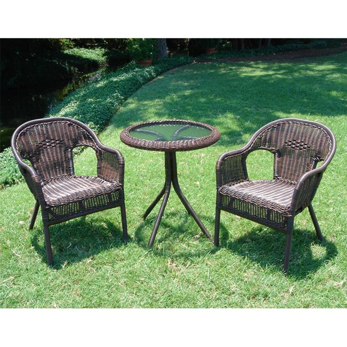 Outdoor Wicker Resin Patio Furniture Bistro Set in Mocha, SWRP3401 :  Sit back and enjoy a beverage out in the sun with this Outdoor Wicker Resin Patio Furniture Bistro Set in Mocha. With two wicker chairs and a glass-top table, this set is great for your entertainment and relaxation needs. Each chair has a steel frame and a deep-seating design that'll add to your comfort. The set also comes in several different finishes, so you can choose the right shade to fit your current décor. Wherever you put this delightful set, it'll bring a sense of style and comfort that's perfect for you and your guests. Chairs have deep seating and are comfortable; Available in several finishes.