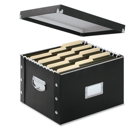 No more hiding storage in totes, basements, and garages. This Set of 5 - Snap and Store File Box Legal Letter Size in Glossy Black provides desktop or archival filing that is easy to store and looks great. With heavy-duty fiberboard panels and industrial-size snaps, these file storage pieces ship and store flat, and can be assembled in a snap! The letter/legal file box features chrome-steel handles for easy carrying, and a chrome card holder for labeling. Steel reinforced top edges are perfect for both letter and legal size hanging folders. The glossy black laminate finish provides a stylish appearance to this innovative product.