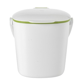 Good Grips White Compost Bin with Smooth Green Interior, OXOGGCB1999 :  Stop throwing food scraps in the garbage! Designed with the home cook in mind and attractive enough to live on the countertop, this Good Grips White Compost Bin with Smooth Green Interior stores food scraps until they can be transferred to an outdoor composter. The flip-up lid can be opened and closed with one hand. Smooth interior walls prevent food and liquids from building up and make clean up simple. The sturdy handle makes it easy to carry the filled bin outside while the contoured bottom and removable lid keep emptying simple. Contoured bottom and removable lid makes emptying simple; Rotating handle for easy transport of waste to outdoor composter.