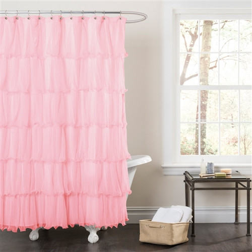 Pink Ruffled Microfiber Polyester Fabric Shower Curtain, MPSH51915 : Bring beauty to your bathroom with this Pink Ruffled Microfiber Polyester Fabric Shower Curtain. This cascade of ruffled microfiber comes in the soft hue of your choice to add a delicate, feminine touch to your tub. This elegant shower curtain installs easily and complements a variety of bathroom styles. Dry clean only; Style Solids; Themes Ruffle; Type Standard.