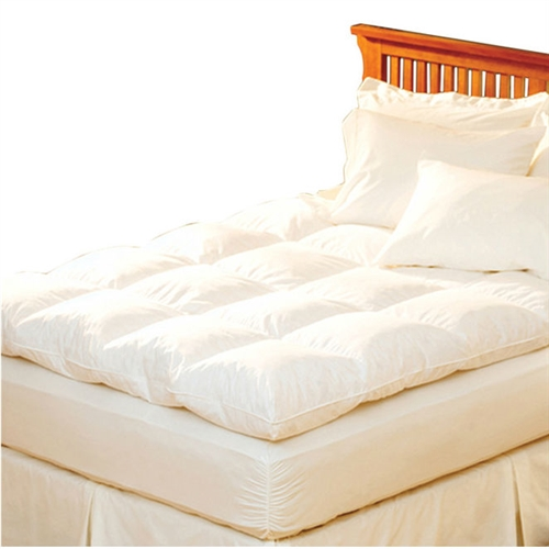 Redefine the comfort of your bed with this Queen size Feather Bed Topper with 100-Percent Cotton Quilted Baffle Box Design. Its design features a true baffle box stitched pattern on the white surface. The feather bed comes in various sizes to suit your preference. This mattress pad comes in handy when you want to add an extra layer of comfort for your body. This mattress pad is hypoallergenic, which means that you won't fall prey to allergies easily. Made from 100% pure cotton, the Queen size Feather Bed Topper with 100-Percent Cotton Quilted Baffle Box Design is soft and durable. This mattress pad can be conveniently dry cleaned or professionally laundered. Water Resistant: No; Stain Resistant: No; Bed Bug Resistant: No; Hypoallergenic: Yes; Machine Washable: No; Quilted: Yes; Fill Material: Feathers. Gender: Unisex/Both ; Thread Count: 230; Fitted Sheet Compatible: Yes; Firmness: Medium; Commercial Use: Yes.