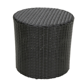 Outdoor Round Barrel Style Patio Side Table in Black Wicker Resin, BWPT81416 :  This Outdoor Round Barrel Style Patio Side Table in Black Wicker Resin is stylish and convenient for your outdoor needs. With its contemporary shape, you can place it near your seating area to place snacks and beverages, or even use it as a stand for your garden. Made of environment-friendly synthetic wicker you will find many uses for this table. Both stylish and durable; Sturdy construction; Neutral colors to match any outdoor decor.