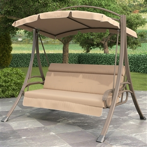 3-Person Outdoor Porch Swing with Canopy in Beige Tan Brown, DNPSAC50915 :  Sharing special moments in your own backyard is easy with this 3-Person Outdoor Porch Swing with Canopy in Beige Tan Brown. This comfortable swing will give you years of enjoyment. The warm grey steel frame is complimented by a beige arched shade canopy and seat cushions. The shade creating canopy slips in place securely and is made from high quality weather resistant poly-cotton. Rest assured you will swing comfortably in the tufted seat with its foam topped backrest. Gently sway your afternoon away! High quality layered soft foam seat cushion with tufting and soft foam padded backrest; Slip-on, washable canopy fabric; Durable and easy to care for painted steel frame; Warranty: 1 Year; Style: Contemporary; Swing Finish: Beige; Porch Swing; Material: Metal.