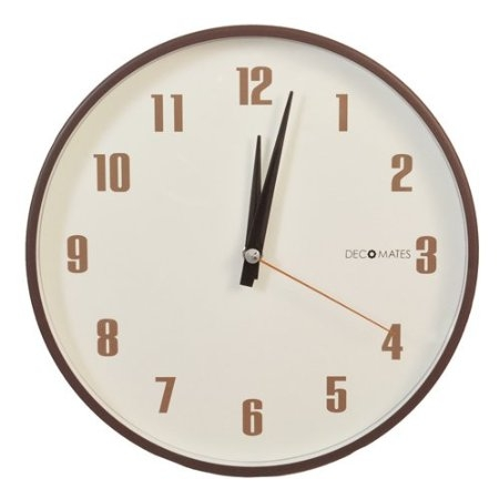 Silent Non-Ticking Retro Wall Clock in Brown and White, NTSWCRB2519 :  Adorn any room with this Silent Non-Ticking Retro Wall Clock in Brown and White! The brown numerals show up well against the cream background for clear view. Because it has all three hands, this clock will give you an accurate read on time down to the second so you don't need to second guess yourself. The clock's simplicity in design offers quick and easy installation. All you have to do is insert a single AA battery (not included), and the back slot makes it easy to hang. Another great thing about this clock is that it's even easier to maintain. It's super easy to clean because the clock is cased with a flat lens that covers and protects the face from dust and debris. The clock is silent so you don't need to worry about the constant ticking of regular clocks when you need some peace and quiet to concentrate on your work or enjoy a full night of undisturbed sleep. Add a retro touch to your room with a clock that's both practical and stylish.