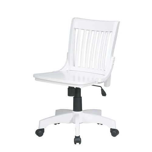 This White Armless Bankers Chair with Wood Seat would be a great addition to your home. It has a white finish and a steel base.