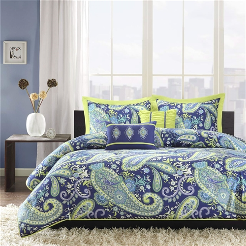 This Full / Queen size 5-Piece Paisley Comforter Set in Blue and Yellow Colors has large blue and white paisley print with lime green accents enhances the dimension and character of your bedroom. The bright green on the reverse side adds more color and vibrancy to this comforter.