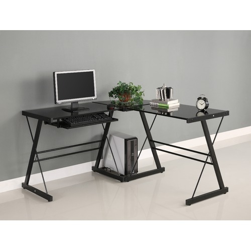 This Black L-Shaped Computer Desk with Glass Top and Steel Frame offers a sleek modern design crafted with durable steel and thick tempered safety glass. The L-shape provides a corner wedge for more space and the design creates a look that is both attractive and simple. Flexible configuration options allow you to mount the keyboard tray on either side of the desk. Also included are a universal autonomous CPU stand a sliding keyboard tray. This desk complements any room and is a great addition to any home office.