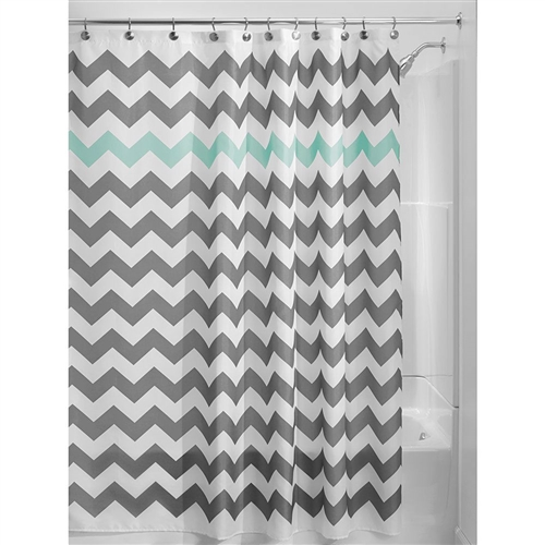 Grey Aqua Blue White Chevron Polyester Fabric 72-inch Shower Curtain, GBCA5198412 : This Grey Aqua Blue White Chevron Polyester Fabric 72-inch Shower Curtain adds fun and flair to the ever boring bathroom. This retro design features a color pop and is just too stylish to resist. Just toss it in the washing machine; Use of Liner Recommended; Made of 100% Polyester Fabric.
