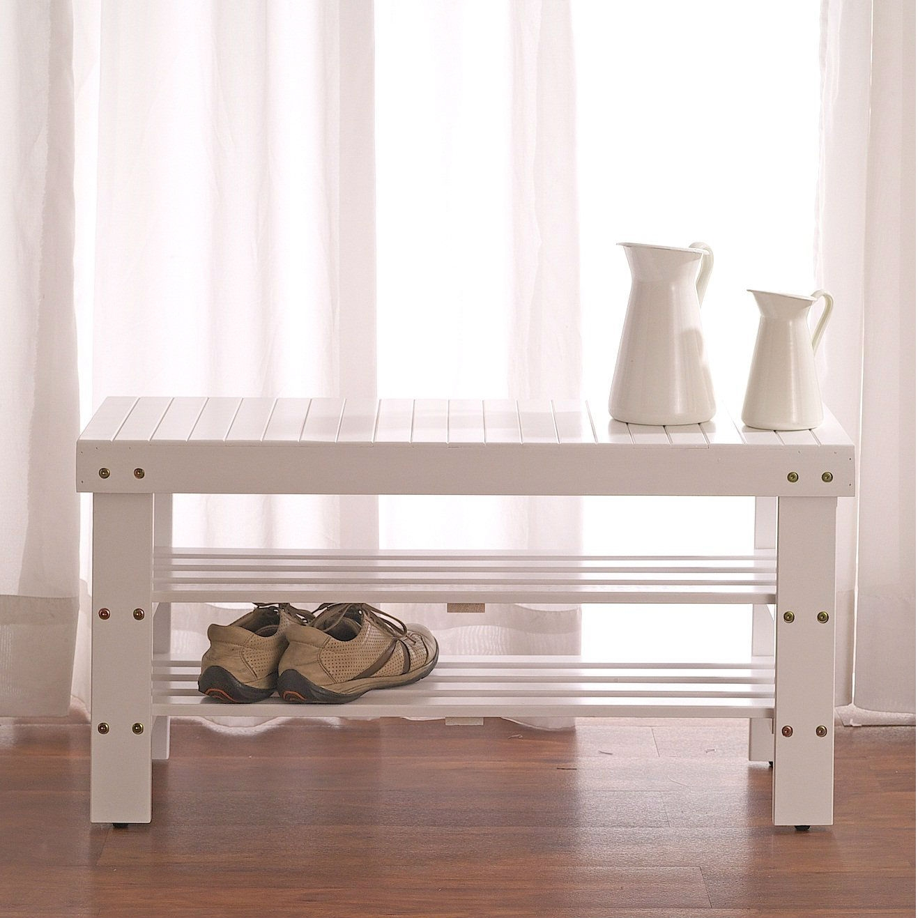 Solid Wood Shoe Rack Entryway Storage Bench in White, WSB519846 :  In the entryway or bedroom, this Solid Wood Shoe Rack Entryway Storage Bench in White is a place to pause and put your shoes on. It can add more storage to your home without sacrificing space. Durable solid wood frame, display and store up to 10 pairs of shoes. If you wish, you can sit on the top for a spell or use it as storage space too. Photo May Slightly Different From Actual Item in Terms of Color Due to the Lighting During Photo Shooting or the Monitor's Display.