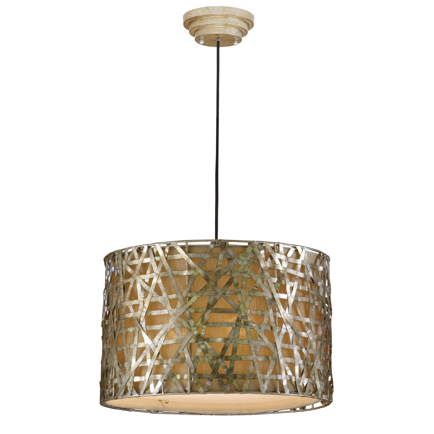 Relaxed and light, this Modern 3-Light Drum Ceiling Pendant Light in Champagne Satin Metal Finish is a smart choice for the home that is about comfort and quiet style. The fixture will provide your home with light fixtures that are made from unique materials. Material: Metal; Swarovski Crystal: No; Lens Included: No; Bulb Type: Incandescent; Bulb Shape: A; Transformer Required: Yes; Number of Lights: 3 ; Connection: Junction box; Voltage: 110 Volts (V); Wattage per Bulb: 60 Watts (W); Product Care: Dust with a clean, soft, dry cloth. Do not use abrasives. Country of Manufacture: China; Assembly Required: Yes. Energy Star Compliant: No; Damp, Dry or Wet Location Listed: Dry;  UL Listed: Yes; cUL Listed: Yes.