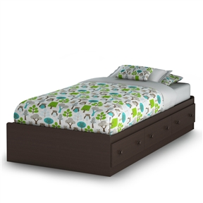 With its chocolate finish and sleek, clean lines, this Twin-size Platform Bed with 3 Storage Drawers in Chocolate will enhance any kids bedroom. Available in Twin size, this bed box features three practical storage drawers for ample storage. With unparalleled beauty and simplicity, the Summer Breeze Mates Storage Bed is the ideal central fixture in your kid's bedroom. With country design elements, this is ideal for kids, teens or young adults. This ensemble of bedroom furniture features clean lines and elegant moldings for a distinct look. Decorative kickplate; Smart Glide drawer slides with stops and built-in dampers; Box spring not required; Country style.
