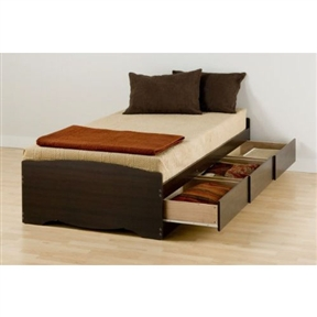 """This Twin XL Espresso Brown Platform Bed with 3 Storage Drawers is 5 inches longer than a standard twin making it ideal for teenagers and College students. Underneath are 3 large storage drawers (20"""" depth) that run on smooth running metal drawer glides. Every room needs more storage and this is a great place to add it! Wood slats positioned lengthwise distribute body weight evenly and take the place of a box-spring, so the bed needs only a mattress. Three Drawers are located on one side so that the bed can be positioned left or right to suit any bedroom layout. Available in two colors: Espresso finish, an attractive laminate that simulates a rich, dark wood finish or Midnight Black laminate. Please specify when ordering. This product is made from composite woods with overlay laminate and plywood slats. It ships flat-packed (in two cartons) and assembly is required. Detailed and easy-to-follow instructions are included."""