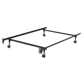 This Twin Metal Bed Frame w/ Locking Rug Roller Wheels & Headboard Brackets is the ultimate in strength and durability, quality and structure. Features solid steel metal Frame that will give excellent support to your mattress and headboard. Easy to move, constructed with wheels, and great touch of being Adjustable. Easy Assembly in Less than 10 Minutes. No Additional Tools Required. The Screws that attach the Bed frame to headboard are not included.