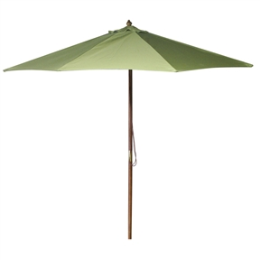 Green 9-foot Wood Frame Market / Patio Umbrella, GJMU5985 :  This Green 9-foot Wood Frame Market / Patio Umbrella would be a great addition to your home. We recommend to take inside during extreme weather to avoid damage. To clean use a mild soap and water solution. Material: 160G Polyester / Wood frame; Spun polyester canopy; Maintenance free; Fabric is designed to withstand up to 500 hours of direct sunlight. Not intended for Commercial Use, only warrantied for 500 hours of direct sunlight for commercial use.