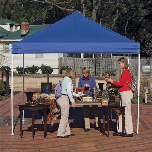Blue 10-Ft x 10-Ft Pop Up Canopy with Steel Frame and Spike Anchors, SLBC61849651 :  This Blue 10-Ft x 10-Ft Pop Up Canopy with Steel Frame and Spike Anchors is a professional-quality canopy that effortlessly provides instant shade and protection from the elements. Housing a number of excellent innovations in shelter design and built from only the most dependable materials, this piece promises to work perfectly in any situation - from decks and patios to the pool or beach, and even events like tailgating and outdoor vending. All-steel frame measuring 10W x 10D x 6.25H feet; Fully collapsible frame for easy transport and storage; 1-piece, fitted, white, polyester cover with full valance; 100% Water Resistant, and drip-free seams; Canopy Color Desert Bronze, Blue, White, Red, Black, Green; Canopy Material Polyester; Number of Legs 4; Pole Material Steel; Style Pop Up.