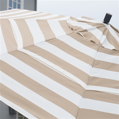 7.5 Ft Patio Umbrella with Crank Lift and Collar Tilt Beige and White Stripe, SPMBE541981 :  Stay cool and comfortable this summer with this 7.5 Ft Patio Umbrella with Crank Lift and Collar Tilt Beige and White Stripe. Beautifully crafted, this umbrella is made with a durable aluminum pole and eight fiberglass ribs with reinforced ribs and joints which provides added flexibility and longevity in windy conditions. It also features a durable resin housing and hub. Olefin fabric, in your choice of colors, is tough, hardwearing, and made to last. You'll love the advanced collar tilt system with infinity tilt which separates the tilt from the crank system. You'll also have a complete range of tilt positions at your fingertips so you can easily stay in the shade no matter the time of day. Fabric is tough and hard-wearing, made to last; Commercial Grade No; Lift Crank; Number of Ribs 8; Pole Finish Bronze; Pole Material Aluminum; Tilt Collar; Umbrella Shape Round; Warranty 1 Year Limited.