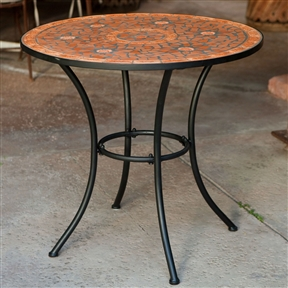 Round Outdoor Patio Bistro Table with Terracotta Mosaic Tiles and Black Metal Frame, CTCMT51891 :  Add a little spice to your outdoor décor with this Round Outdoor Patio Bistro Table with Terracotta Mosaic Tiles and Black Metal Frame. Made with durable tubular steel, it boasts a top that features a hand-laid terra cotta mosaic that blends a variety of rust and brown tones. Charcoal grey grout complements each piece along with a black powder coated finish on its legs. Keeping it clean is easy, just hose it down and let the sun kiss it dry. It's the perfect place to enjoy a glass of your favorite vino or a cup of morning brew. Virtually no maintenance - simply hose off to clean; Store indoors in winter; Minor assembly required; International Shipping Canada; Material Mosaic, Wrought Iron; Seating 2 - 3 Person; Style Bistro; Table Top Material Mosaic; Umbrella Hole No.