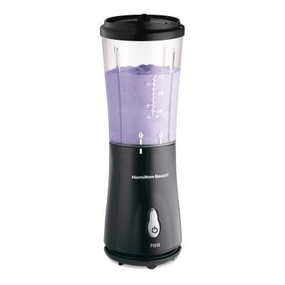 With this Personal Smoothie Blender with Travel Lid in Black by Hamilton Beach there is No need to lug out the heavy-duty blender for those morning smoothies, protein shakes, or other blended beverages. When you're trying to get out the door in a hurry, this convenient blender offers one-person portions, simple one-touch blending, and durable stainless-steel blades for fast results. Best of all, its 14-ounce blending jar doubles as a travel cup, so you can sip from the same container you blend in, which means less to clean in the end. The portable travel cup includes measuring marks up the side, and it fits most car cup holders for safe, secure transport. A travel lid to drink from and a recipe book are included. Great for at home or on the go, the 175-watt single-serve blender measures 3-3/4 by 3-3/4 by 12-1/2 inches.