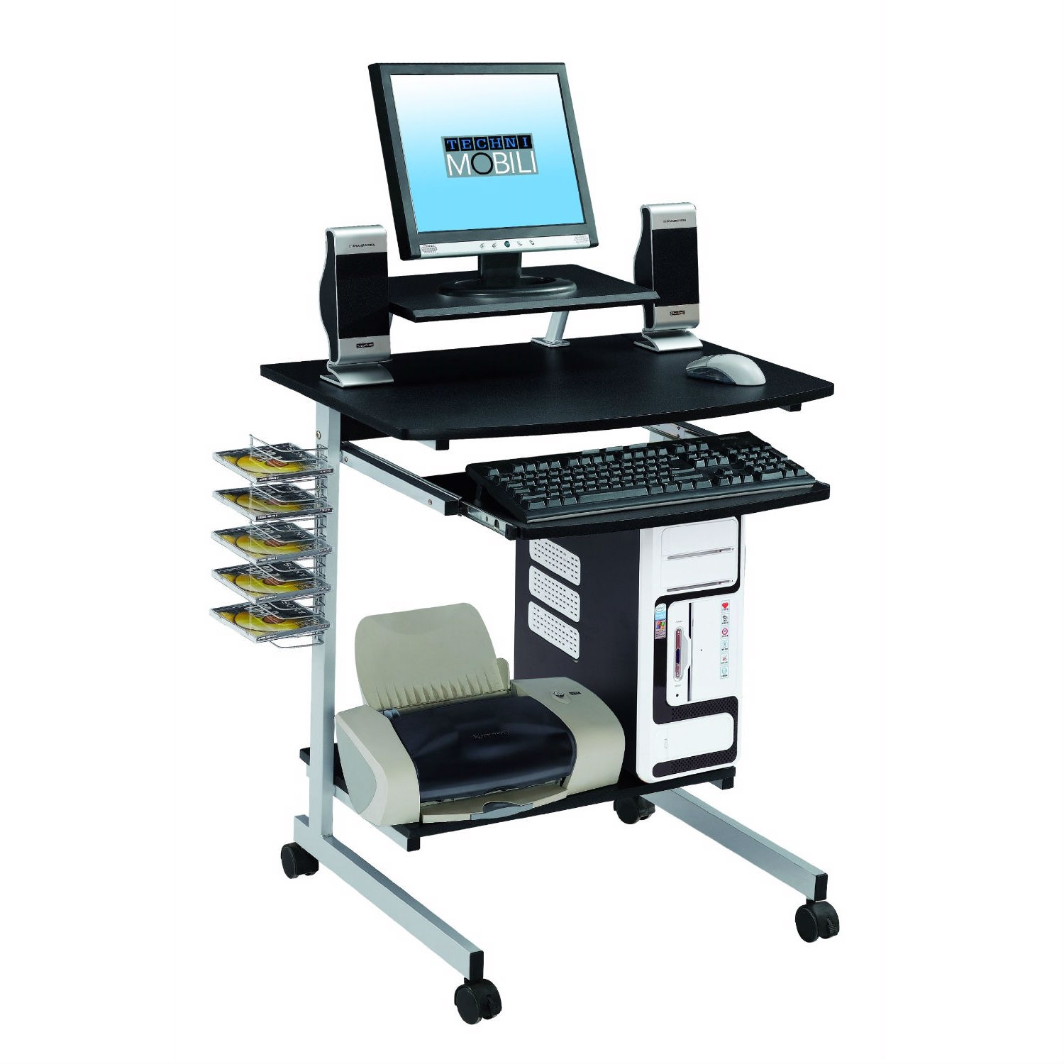 This Mobile Compact Computer Cart Desk with Keyboard Tray is simple and compact computer cart with adjustable shelf. Panels are made of durable MDF material and its frame of powder coated steel frame. Includes a keyboard panel with safety stop, CD media rack, bottom accessory shelf and an adjustable printer/monitor shelf which can be placed center, left of right. Ready and easy to assemble. 5 Years Mfg.  Warranty.