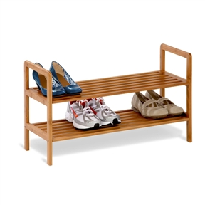 2-Tier Bamboo Shoe Shelf Rack - Holds 6 to 8 Pairs of Shoes, HCDB2TS2047 :  Attractively simple and environmentally savvy, this 2-Tier Bamboo Shoe Shelf Rack - Holds 6 to 8 Pairs of Shoes from Honey-Can-Do keeps shoes, slippers, and boots organized so floors are cleaner and getting ready is more efficient. Built with two tiers, the piece is constructed from bamboo, a fast-growing and durable alternative to timber. It features rounded corners, slatted shelves, and an adjustable design that allows shoes to rest on a flat or angled surface. Also great for the closet or mudroom, the piece is moisture resistant and goes well almost anywhere, thanks to its natural finish. It holds 6 to 8 pairs of adult shoes, wipes clean for easy maintenance, and comes in a three-tier version as well. Basic assembly is required, and Honey-Can-Do includes a limited lifetime warranty. Available in 2-tier and 3-tier models.