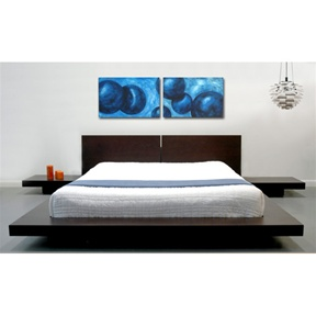"""Stylish and modern, the contemporary Platform bed comes complete with headboard and two matching nightstands and is a beautiful piece of bedroom furniture. Promote rest and relaxation with this low and sturdy platform bed . Be sure to check out our great selection of mattresses, which go great with this platform bed frame. Wooden slats included with the bed support your mattress. Available in standard queen and eastern king size. Solid hardwood bed frame and matching nightstand with MDF wood accents; Contemporary double wood panel headboard is 26"""" High; Platform height is 7"""" H; Hardwood and MDF/Wood Veneer construction; Sleek Asian styled bedroom furniture that will promote rest and relaxation; Wooden slats support your stand size mattress (no box spring or mattress foundation necessary). Mattress and bedding not included."""