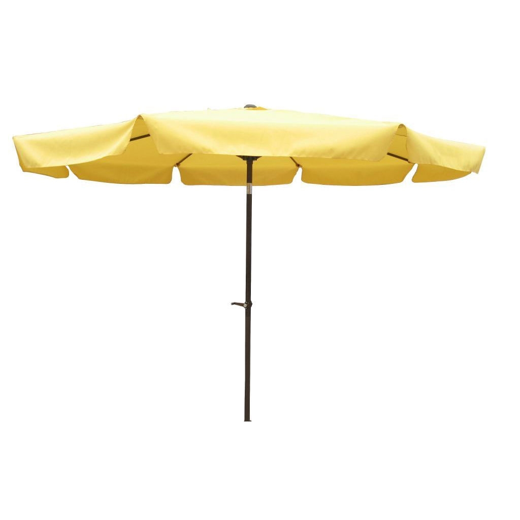 Yellow 10-FT Crank Lift Patio Umbrella with Aluminium Pole, Y10FTU7501 :  This Yellow 10-FT Crank Lift Patio Umbrella with Aluminium Pole would be a great addition to your home. It has an aluminum pole and waterproof canopy fabric. 8 rib canopy; Foldable and easy to move; Weather Resistant Details: Weatherproof polyester fabric; Umbrella Type: Drape; Powder Coated Finish: Yes; Canopy Material: Polyester; Canopy Shape: Round; Weather Resistant: Yes; UV Resistant: Yes; Rust Resistant: Yes; Fade Resistant: Yes; Lift Method: Crank lift; Tilt: Yes.