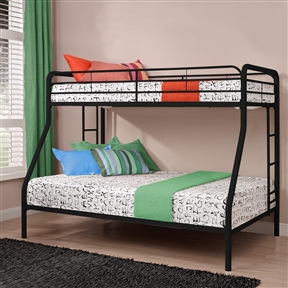 Simple, sleek, secure, stable and space-saving, this Twin over Full size Bunk Bed in Sturdy Black Metal meets all your needs and expectations. Easy to assemble, the bunk bed has been designed for the utmost safety, providing full-length guardrails and a ladder that attaches to the frame. The metal frame will last through years of rough play, whether hosting twins, friends, family or siblings. Gender: Unisex