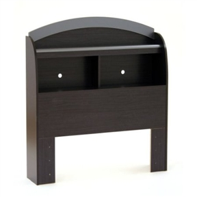 This Twin-size Bookcase Headboard in Black Onyx Charcoal Finish may be used as an addition to the Cosmos bedroom collection. It provides plenty additional storage space with its 2 large storage compartments and full-length shelf at the top. The graphic and industrial design is in-line with one of the most sought-after looks, and the colors have been chosen to reflect the tastes of today's trendiest people.