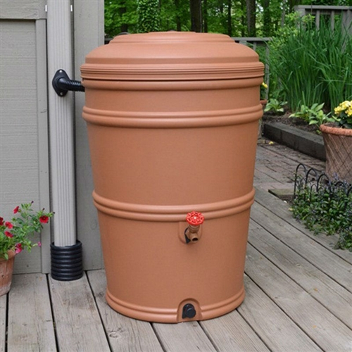 45-Gallon Plastic Rain Barrel with Flexi-Fit Rain Gutter Diverter in Terra Cotta,  HRP5841815 :  Don't let that rainwater go to waste! This 45-Gallon Plastic Rain Barrel with Flexi-Fit Rain Gutter Diverter in Terra Cotta will catch rainwater from your downspout and save it for a drier day. The included, patented Flexi-Fit connector attaches directly to your downspout -- eliminating the need to cut directly into your gutter -- and diverts water into the barrel. After the rain, use your stored rainwater for the garden or the lawn. Two spigots make it easy to fill a watering can or connect a soaker hose. The barrel's locking lid prevents animal and child entry, while the fully-enclosed system prevents mosquito infestation. Included flexi-fit diverter connects to gutter; Links to other barrels for more capacity; Material Recycled Plastic Resin.