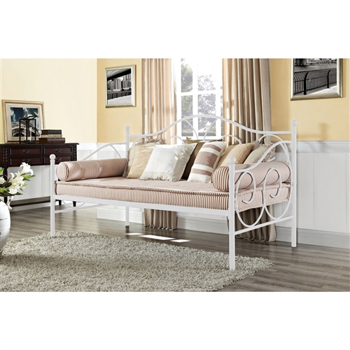 Twin size White Metal Daybed with Scrolling Final Detailing - 600 lb Weight Limit: Product Code: TWDB518612 : Versatile and stylish, this Twin size White Metal Daybed with Scrolling Final Detailing - 600 lb Weight Limit is a must for a home with frequent guests. Graceful scroll details and an elegant silhouette create a put-together look, while sturdy slats ensure superior mattress support. Available in a classic bronze or charming white finish, this piece is easily tailored to your space. Use as a bed or as extra seating.  Accommodates one standard twin-size mattress (sold separately); Box spring not required; Style: Traditional; Frame Material: Metal; Country of Manufacture: China.