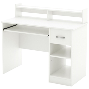 This Contemporary Home Office Computer Desk in White Wood Finish is the perfect answer to organizing clutter in your child's room. It features a compact design yet includes space for everything needed for schoolwork and projects. A low hutch offers shelving for books or keepsakes, and the desktop, plenty of room to spread out homework or a house laptop. Under it, you will find a keyboard tray, one practical drawer with a silver finish metal handles and a storage compartment divided by an adjustable shelf. for complete interior dimensions see spec sheet. Also available in Pure Back or Chocolate finish. The back is not laminated and the accessories are not included.