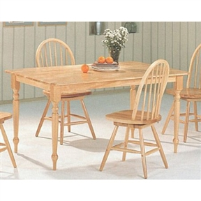 This Natural Wood Finish Rectangular Dining Table with Butcher Block Top would be a great addition to your home. This is a brand new natural solid wood rectangular butcher block farm dining table. Item is constructed in quality solid wood and comes in a traditional design to match the beauty of your dining room decor. Item will require simple assembly. Natural Wood Finish Rectangular Dining Table with Butcher Block Top.