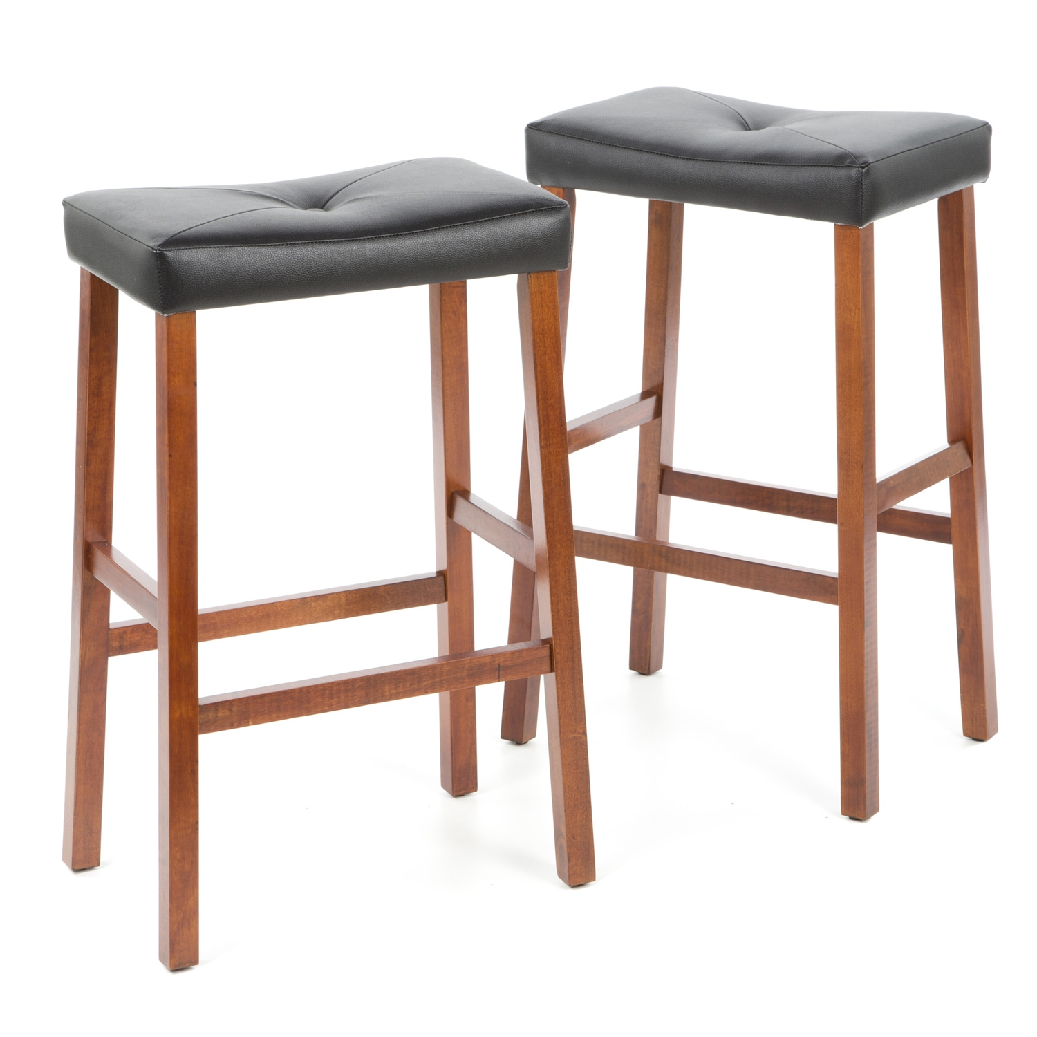 """Comfort and style combined. This Set of 2 - Upholstered Faux Leather Saddle Seat Barstool in Cherry features solid hardwood construction. The cushioned saddle seat is upholstered in faux leather vinyl, that is stain and spill resistant. Four solid hardwood leg stretchers for durability; Style: Traditional; Seat Height Type: Bar (28""""-33""""); Seat Style: Saddle; Frame Finish: 1: Black; Frame Finish: 2: Cherry; Frame Finish: 3: Mahogany; Seat Color: Black; Leg/Base Type: 4 legs; Footrest Included: Yes."""