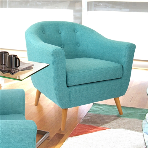Comfortable, yet ultra stylish, this Turquoise Modern Mid-Century Style Arm Chair with Solid Wood Legs is the perfect piece to accent any area. Versatile and sturdy, this retro-inspired chair is built to last. The Turquoise Modern Mid-Century Style Arm Chair with Solid Wood Legs is upholstered with a stylish woven fabric, accented with a button-tufted back, and solid wood legs. Whether sitting in a living room, bedroom, or office this chair is the stand-out piece you have been searching for. Great for use in living room , bedroom or home office; There are no flame retardants in this chair; CA117 compliant with fire retardant foam; Chair Design: Arm chair; Removable Seat Cushion: Yes; Style: Mid-Century; Upholstered: Yes; Upholstery Material: Polyester/Polyester blend; Cushion or Upholstery Fill Material: Foam. Non-Toxic: Yes; Contains Flame Retardant Materials: Yes; Fire Resistant: Yes; Seating Comfort: Firm; Removable Back Cushion: No; Reversible Cushions: No; Arm Type: Round arms. Leg Material: Wood; Removable Legs: Yes; Weight Capacity: 250 Pounds; Commercial Use: No; Eco-Friendly: Yes; Country of Manufacture: China.