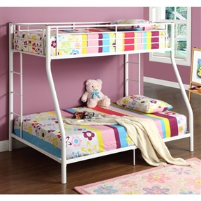 This White Twin over Full Metal Bunk Bed was designed with safety in mind, bed includes full length guardrails and a sturdy integrated ladder.