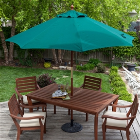 Commercial-Grade 9-Ft Patio Umbrella with Forest Green Sunbrella Canopy, FGHY911452 :  Make your outdoor living space a lot more comfortable with this Commercial-Grade 9-Ft Patio Umbrella with Forest Green Sunbrella Canopy. This umbrella features eight interior ribs for expansive and sturdy coverage and is designed to keep you and your guests cooler so you can enjoy your patio, deck, or porch more fully. This commercial-quality umbrella opens by pushing up and stays open with a pin system and is crafted of top-quality Sunbrella material that is resistant to moisture and the elements. Durable 1.5-inch diameter wood pole; International Shipping Canada; Lift Push Up; Number of Ribs 8; Pole Material Wood; Tilt None; Umbrella Shape Octagon; Warranty Manufacturer Warranty Included.