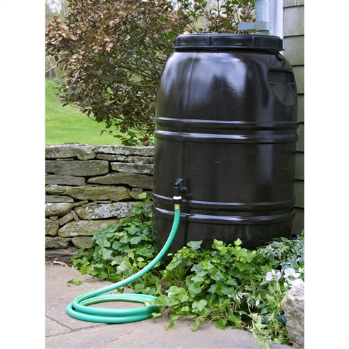 60-Gallon Rain Barrel in Earth Brown Food Grade Plastic, RBRB8518941 :  There's a new R in the recycling motto: reduce, reuse, recycle, rain barrel. This 60-Gallon Rain Barrel in Earth Brown Food Grade Plastic has a 60-gallon capacity and is made from recycled food grade polyethylene to be extra green. It includes a sturdy base and spigot perfect for standard garden hoses. It even links to other rain barrels via a .75-inch piece of garden hose so you can create a custom watering system from the water nature provides. The overflow fitting, drain plug, and screw-on cover are included and it has an insect screen to keep water clear of bugs and debris. Measures 24 diam. x 39H inches; Weighs approx. 20 lbs. Material Recycled Food Grade Plastic Resin; Warranty 1 Year Limited Warranty .