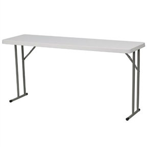 "This White Top Commercial Grade 60-inch Folding Table - Holds up to 330 lbs is designed to withstand the test of time. Flash Furniture's 18""W x 60""L Folding Table features a durable stain resistant blow molded top and sturdy frame. This lightweight 5 ft. table locks in place in a SNAP with the leg locking system for easy set-ups. The space saving design can allow multiple tables in a small to large setting making it the perfect training style table for the classroom or any training facility. Not only does this table make a great training table, but can be used in banquet halls or for everyday use in the school."
