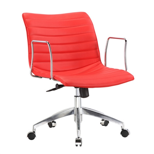 This Red Faux Leather Upholstered Mid-century Modern Mid-Back Office Chair is a durable chair made for the modern office. These caster bases provide easy mobility. Its slim arm rests give you comfort for your arms while keeping the chair compact. Chair is height adjustable making it fit just right for you.