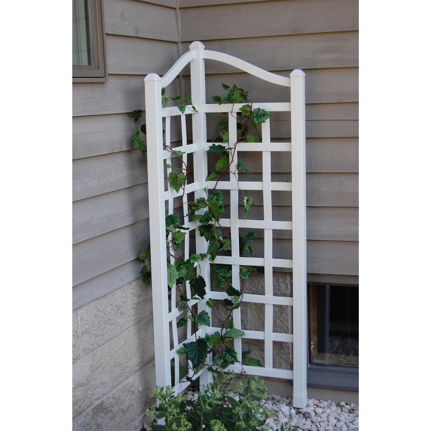 5.5 Ft Corner Trellis in White Vinyl - Made in USA, DOVCT119815 :  This 5.5 Ft Corner Trellis in White Vinyl - Made in USA is constructed of the highest-quality vinyl, which contains the greatest concentration of titanium dioxide available. Titanium dioxide is a powerful UV stabilizer that protects the vinyl from the harmful ultraviolet rays of the sun. This trellis will never fade, crack, peel, or rot, and there is no need to paint it. Dimensions: 40.5W x 66H inches. All Dura-Trel products come with an industry leading 20-year warranty.