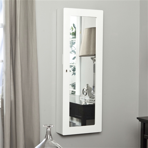 Wall Mounted Wood Jewelry Cabinet Armoire in Gloss White, PLWJ198451 :  Keep your jewelry protected with this Wall Mounted Wood Jewelry Cabinet Armoire in Gloss White that resembles a mounted mirror. The large mirror on the outside lets you check your reflection before leaving the house, and it swings open to reveal your jewelry tucked safely inside. The door locks for extra protection, and inside the armoire are a series of hooks for bracelets and necklaces that keep the pieces organized and free of tangles. It also has a padded tray for rings and trays that let you organize other pieces. 25 double hooks for necklaces and ring rolls; Style Contemporary, Girls and Tweens